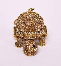 STATEMENT GLAM SEA TURTLE ENCRUSTED RHINESTONE TWO TONE STRETCH RING GOLD