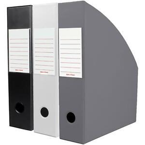Office Organiser Holder Paper Storage Folder Noir Triple Magazine OfficeCentre®