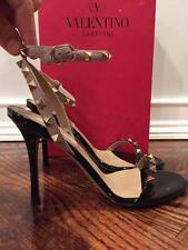 NIB Valentino Rockstud Black Nude Patent Ankle Strap Sandal Heel Pump 40 $945
