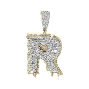 Initial R Diamond pendant 0.80 ctw, 30mm tall, Letter R Pendant for Mens,