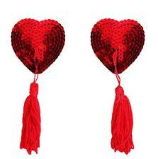 Bijou de seins , cache tétons nipples paillettes coeur rouge, accessoire sexy