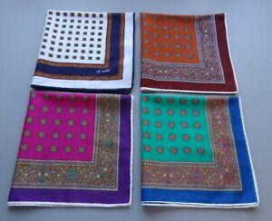 Vtg Lot of 4 Vtg d'Este Cotton Small Scarves Bandanas or Pocket Squares