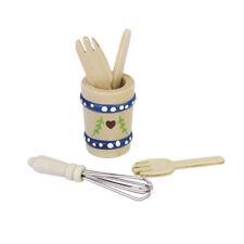 Set di 5 pezzi di utensili da cucina in legno in miniatura di una casa delle