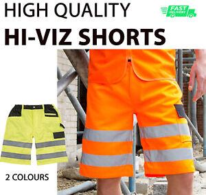 HI-VIZ WORK SHORTS High Visibility Safety Cargo Summer WorkWear R328 w/Pocket HQ