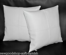 "2 White Check Faux Leather Cushion Covers 16"" 18"" 20"" Scatter Pillows"