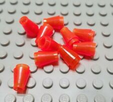 LEGO Lot of 10 Translucent Orange 1x1 Brick Cone Pieces