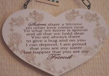 Heart Plaque Special Sister Always My Friend Wooden Birthday Gift 15cm F1214E