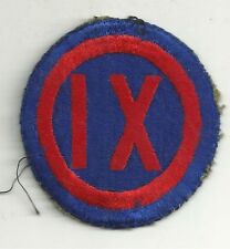 WWII Original US Army IX Corps SSI Patch As Removed