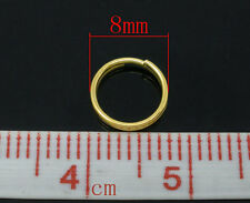 100pcs 8mm gold plated GP double loop open jump split rings jewellery findings