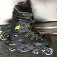 K2 Carbon Ascent Sz 9.5 Inline Skates RollerBlades SoftBoot Blue-green Mens 72MM