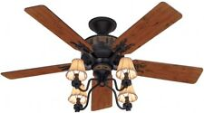Hunter Adirondack 52-in Brittany Bronze Indoor Downrod Or Close Mount Ceiling