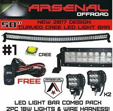 "1x Curved 50"" 288W Combo CREE LED Light Bar+2x 4'' 18W Spot Lights+Wiring Kits"