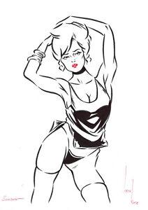 original drawing A4 728KV art samovar modern marker woman illustration pin up