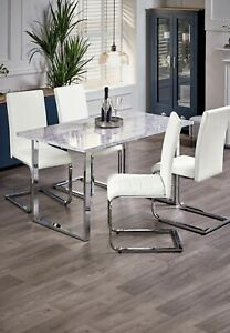 Modern Gloss Marble  Effect Dining Table & 4 Dining Chairs Kitchen Furniture Set