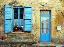 BLUE SHUTTERS DOOR FACADE FRENCH HOUSE ART PRINT POSTER PICTURE BMP300A