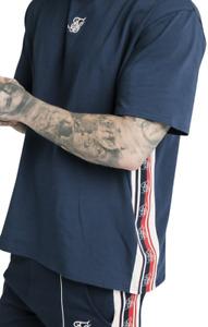 SikSilk S/S Essential Retro Tape Tee - Navy - Mens T-Shirt - BNWT Sik Silk