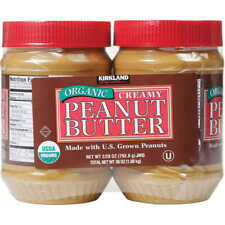 2 Jars Kirkland Signature Creamy Organic Peanut Butter, 28 oz Each