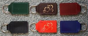 Leather Keyring, Keyfob with Love Hearts Design in Gold or Silver, 2 Sided.