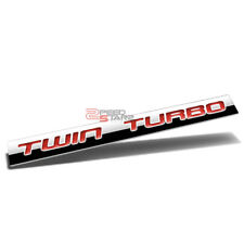POLISHED RED LETTERS TWIN TURBO METAL EMBLEM DECAL LOGO TRIM BADGE 3M ADHESIVE