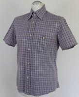 PRADA MILANO Mens Purple & White Check Pattern SHIRT - Size EU 39 - Medium - M