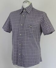 PRADA MILANO Mens Purple & White Check Pattern SHIRT - Size EU 39 - Medium - M