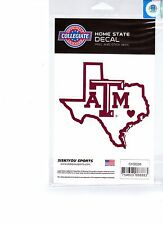 NCAA TEXAS A&M AGGIES Home State Repositionable Vinyl Decals Car Auto FREE SHIP