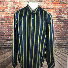 INDIGO PALMS DENIM COMPANY BLUE COTTON STRIPED LONG SLEEVE CASUAL SHIRT SIZE XL