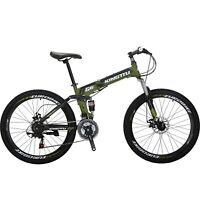 "26"" Full Suspension Mountain Bike 21 Speed Folding Bicycle Disc Brakes MTB"