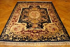 Hand-Knotted Rug 6' X 9' Artificial Silk Navy Blue - Velvet Red French Rug