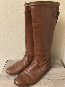 Frye Paige Trapunto 76140 Brown Leather Tall Boots Women's 11 B