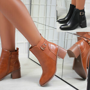 New Womens Block Heel Zipped Buckle Ankle Boot Shoes Sizes 3-8