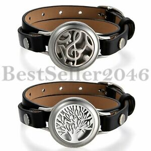 25MM Aromatherapy Essential Oil Diffuser Locket Cuff Bracelet Leather Adjustable