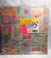 Vintage Baby Shower Wrapping Paper Gift Wrap Quilt Sampler Pastel NEW Sealed