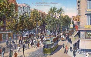 Barcelona,Spain,Ramblas,Trolley Car,c.1909