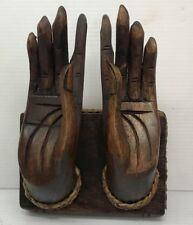 Buddha Hand Art Wood Carved Figure Place a business card Wooden Thai Vintage