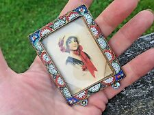 Antique Micro Mosaic Brass Miniature Picture Frame-Italy-Old Portrait Lady Print