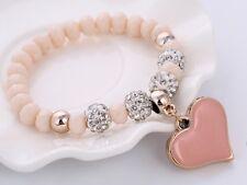 Pink Heart Charm Pendant Elastic Bracelet Bangle Shambhala Crystal Bead Jewlery