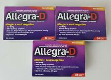 3 x Allegra D 12 Hour Allergy Nasal Congestion Tablets 30 Caplets 90 Exp 2022