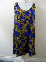 H&M dress size 14 mustard blue floral slightly dipped hem sleeveless pretty