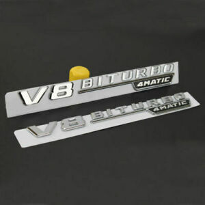 2pcs V8 Schriftzug Emblem Logo 3D Silber Chrom BITURBO V8