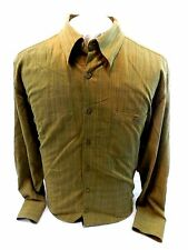 Pronto UOMO Mens Large Shirt Long Sleeve Button Up 100% Cotton Brown