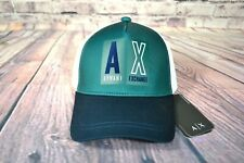 NWT MEN ARMANI EXCHANGE LOGO BASEBALL HAT WHITE/GREEN ONE SIZE 9A007