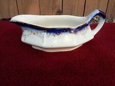 Flow Blue Gravy Boat with Gilt Tracery
