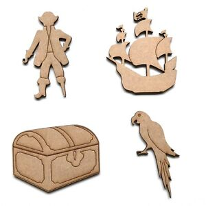 Wooden MDF Pirate Ship Parrot Treasure Chest Craft Shapes Embellishments