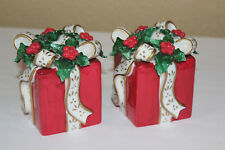 Avon 2001 Pair Christmas Present Taper Candle Holders Gift Box Red Holly Berry