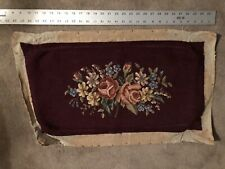 Vintage Hand Stitched finished Needlepoint 14� X 26� Bench Seat Cover