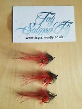 3x Black and Red Pot Bellied Pig Size 12 Double Hook Salmon Fishing Flies NEW