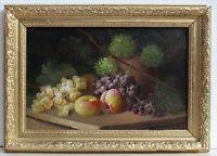 Antique S. FANTONI Still Life oil painting on canvas, Fruits, Framed