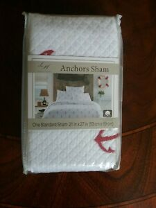 Lamont Home Anchors Embroidered Standard Sham Red White Quilted