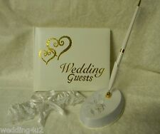 Wedding Ceremony Gold Hearts Guest Book-Pen Garter 4 Psc Set White